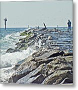 Fishing The Jetty - Island Beach State Park   Nj Metal Print