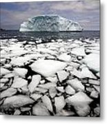 Floating Ice Shattered From Iceberg Metal Print