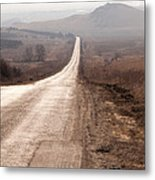 Foggy Road In Dobrogea Metal Print