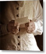 Gentleman In Vintage Clothing Reading A Letter Metal Print