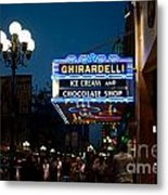Ghirardelli Chocolate Signs At Night Metal Print