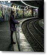 Girl In Station Metal Print