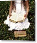 Girl Is Reading A Book Metal Print