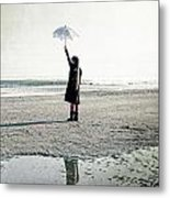 Girl On The Beach With Parasol Metal Print by Joana Kruse