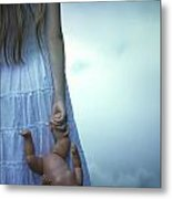 Girl With Baby Doll Metal Print