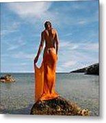 Girl With The Orange Veil Metal Print