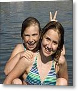 Girls Playing In The Water At The Beach Metal Print