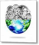 Globe With Cogs And Gears Metal Print