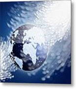 Globe With Fiber Optics Metal Print