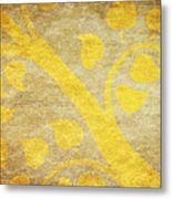 Golden Tree Pattern On Paper Metal Print