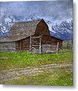 Grand Teton Iconic Mormon Barn Fence Spring Storm Clouds Metal Print