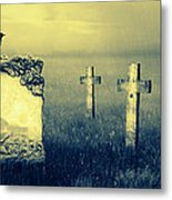 Gravestones In Moonlight Metal Print