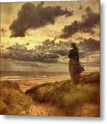 Haunting Figure Of A Woman Looking Out To The Ocean Metal Print