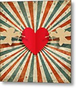 Heart And Cupid With Ray Background Metal Print by Setsiri Silapasuwanchai