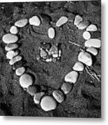 Heart Symbol Made Out Of Pebbles On The Beach At Aphrodites Rock Petra Tou Romiou Cyprus Metal Print