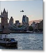 Helicopter At Tower Bridge Metal Print