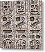 Hieroglyphs On Ancient Carving Metal Print by Jane Rix