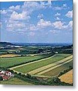 High Angle View Of Fields, Stradbally Metal Print