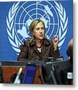 Hillary Clinton Speaking To The Press Metal Print