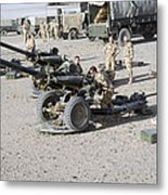 Howitzer 105mm Light Guns Are Lined Metal Print