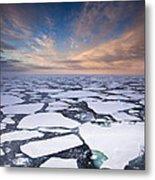 Ice Floes At Sunset Near Mertz Glacier Metal Print