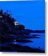 Illuminated Cabin In The Dark At The Seaside Metal Print