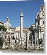 Imperial Fora With The Trajan's Column And The Church Santissimo Nome Di Maria.  Rome Metal Print