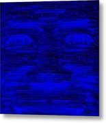 In Your Face In Negative Blue Metal Print