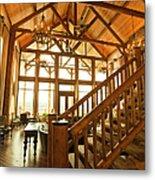Interior Of Large Wooden Lodge Metal Print