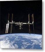 International Space Station Backdropped Metal Print