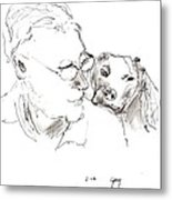 Jeff And Dog Metal Print