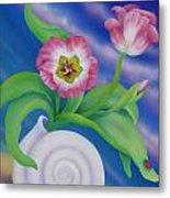 Ladybug And Tulips Metal Print