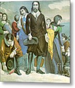 Landing Of The Pilgrims At Plymouth Metal Print