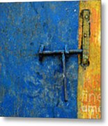 Latch The Door On The Faded Blue And Yellow Wall Metal Print