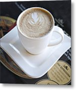 Latte With A Leaf Design Metal Print by Jaak Nilson