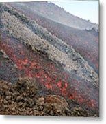 Lava Flow During Eruption Of Mount Etna Metal Print