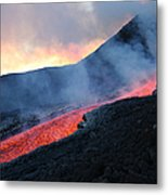 Lava Flowing From Base Of Hornito Metal Print
