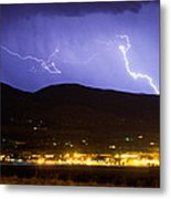Lightning Striking Over Ibm Boulder Co 2 Metal Print