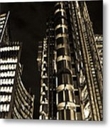 Lloyds Building London In Gold Metal Print