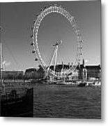London Skyline Edf Eye Bw Metal Print