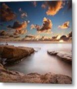 Long Exposure Sunset At A San Diego Metal Print