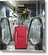 Luggage At The Top Of An Escalator Metal Print