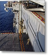 Marines And Sailors Fast-rope Metal Print by Stocktrek Images