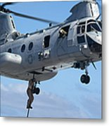 Marines Fast Rope From A Ch-46 Sea Metal Print