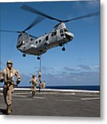 Marines Fast Rope On To The Flight Deck Metal Print