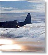 Mc-130p Combat Shadow Dropping Flares Metal Print