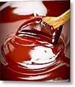Melted Chocolate And Spoon Metal Print
