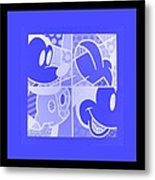 Mickey In Negative Light Blue Metal Print