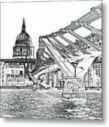 Millenium Bridge And St Pauls Metal Print