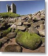 Minard Castle And Rocky Beach Minard Metal Print